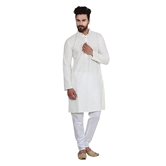 96571119964e82 Sojanya (Since 1958) Men's Cream 100% Chicken Cotton ONLY Long Kurta: Amazon .in: Clothing & Accessories