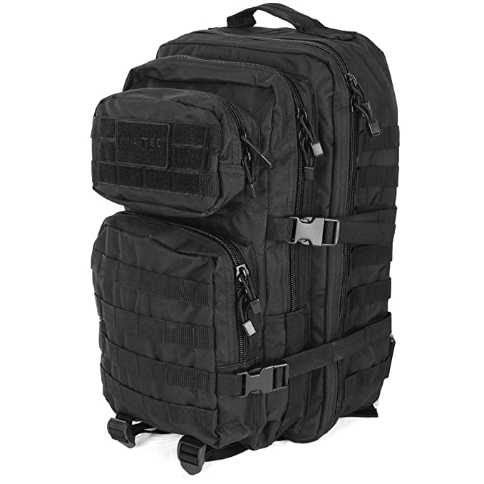 9b6921ab13 Mil-Tec MOLLE Tactical Assault Backpack - Large 36 Litre (Black)   Amazon.co.uk  Sports   Outdoors