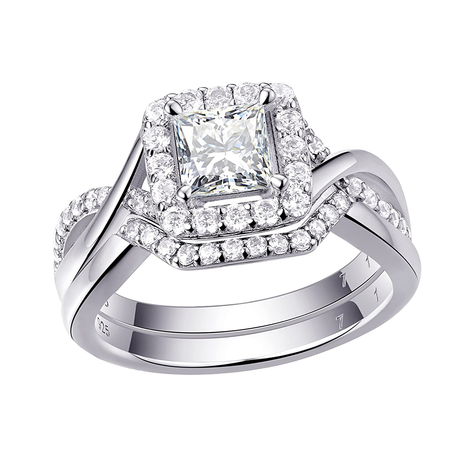 Newshe Woman 0.9ct Princess White AAA Cz 925 Sterling Silver Wedding Engagement Ring Set Size 5-10 Newshe Jewellery 1R0005_SS