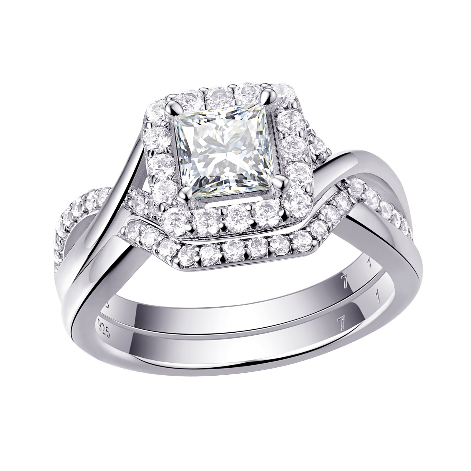 Newshe Engagement Wedding Ring For Women Bridal Set 925 Sterling Silver Princess White AAA Cz Size 7