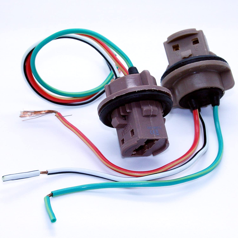 LED-Mafia 2X 7443 T20 W21/5W Sockel Lampenfassung Reparatur Kabel Lampe Stecker Fassung 12V Markenlos