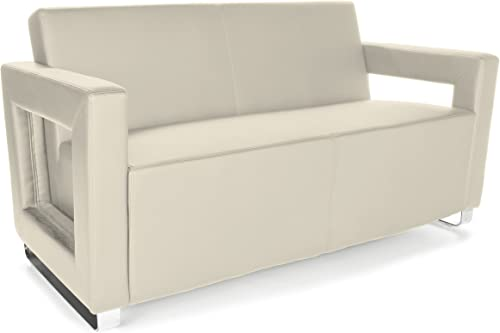 OFM Core Collection Distinct Series Soft Seating Lounge Sofa, Full Polyurethane with Chrome Base, in Cream