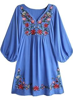 Futurino Bohemia de la Mujer Bordado Blanco Floral Tassel Acentos Shift  Mini Vestido 78ef5c51c6f1b