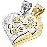 MunkiMix Acero Inoxidable Colgante Collar Cz Cubic Zirconia Circonita Corazón Heart Amor Love San valentin Pareja His & Hers Conjunto Set Hombre,Mujer ,Cadena 50cm & 58cm