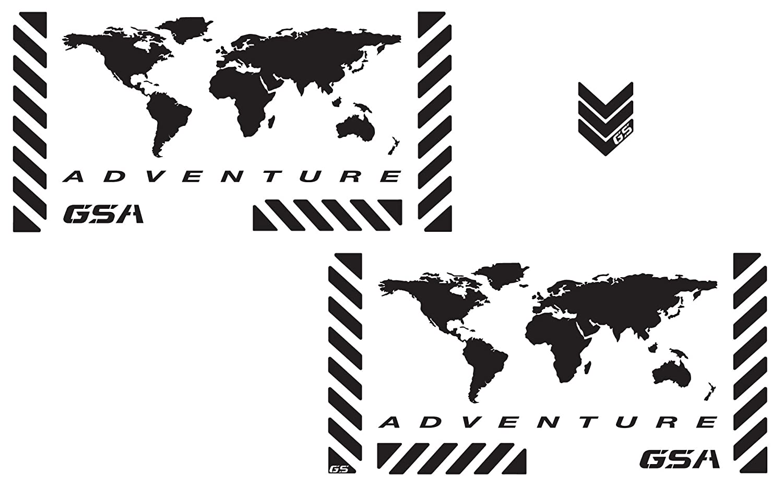 The Pixel Hut gs00001b Bmw GSA Adventureオートバイの反射デカールキット「世界冒険マップ」Touratechパニア – ブラック   B00GUPQVHA