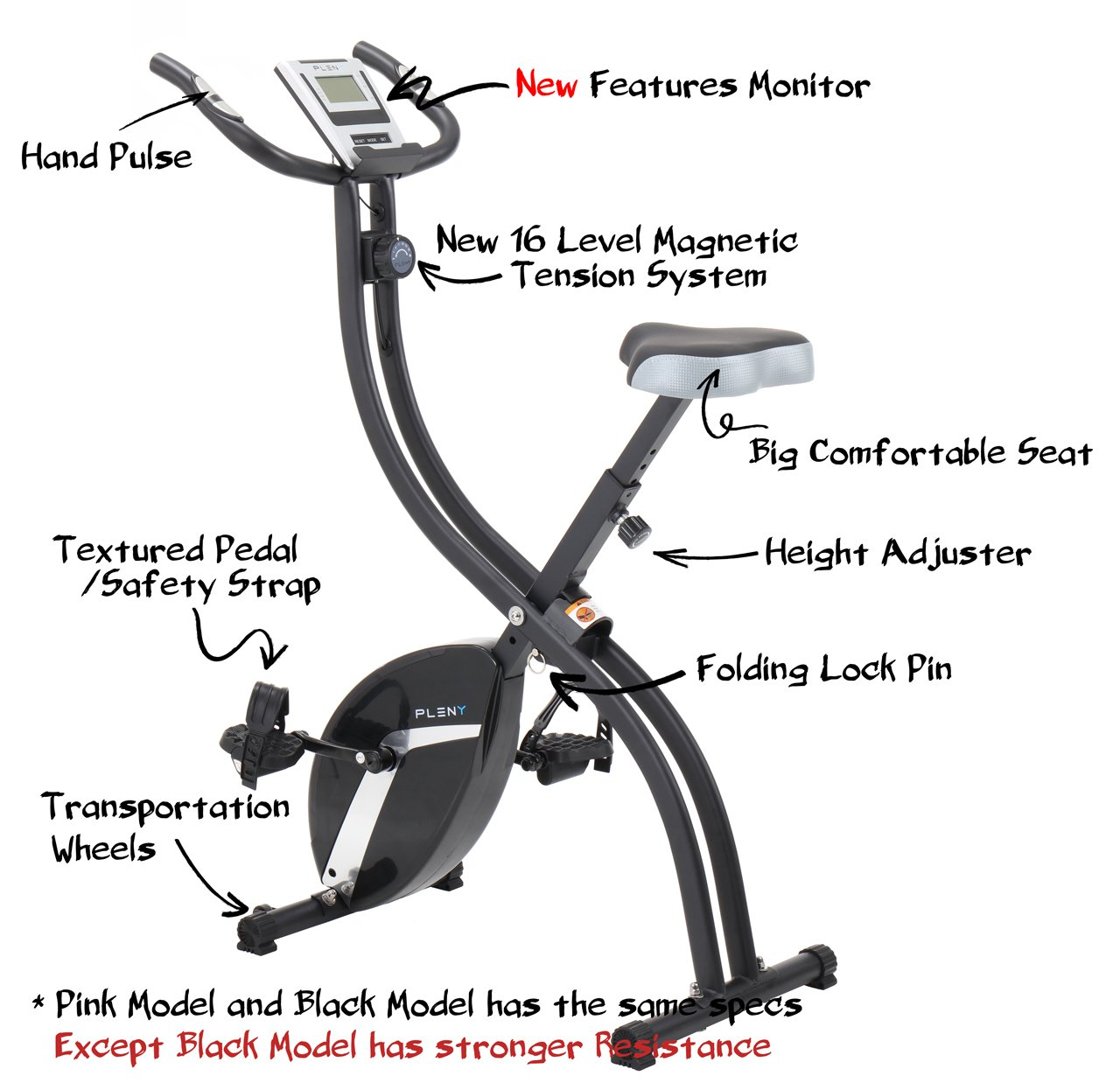 PLENY Foldable Upright Stationary Exercise Bike with 16 Level Resistance, New Exercise Monitor with Phone/Tablet Holder (Pink) by PLENY (Image #4)