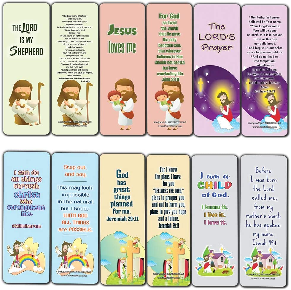 Amazon Com Christian Bookmarks Cards For Kids 60 Pack Scripture Bible Verses Psalm 23 Great Stocking Stuffers For Easter Baptism Thanksgiving Christmas Sunday School Prayer Cards War Room Decor Office Products