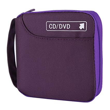 CD Case, Siveit 32 Disc CD DVD Wallet Storage Organizer Holder VCD Binder Bag Album Booklet (Purple)