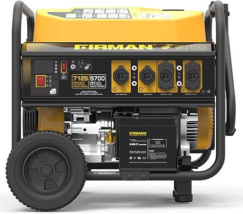 Firman P05702 7100 5700 Watt 120 240V Remote Start Gas Portable Generator, Black