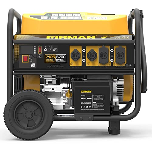 Firman P05702 7100 5700 Watt 120 240V Remote Start Gas Portable Generator, Black