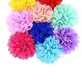 LoveInUSA 4 Inch Chiffon Flowers Set, 14Pcs Flowers for Headbands Flower Embellishments Flower Fabric for DIY Headbands Girl Flower Accessories