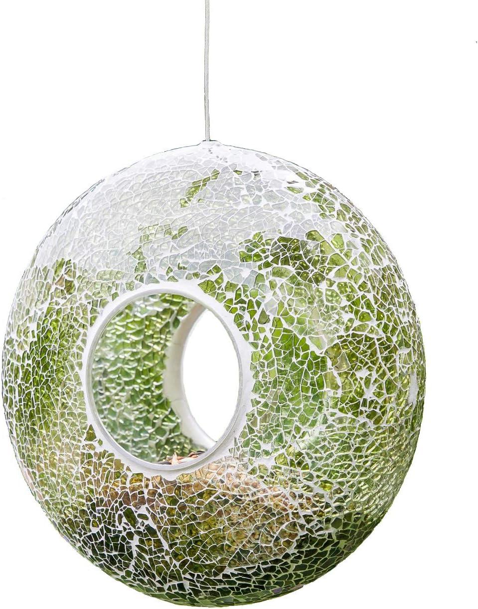 A Ting Garden Hanging Bird Feeder Mosaic Circle Birdfeeder for Outdoor Decoration,Green