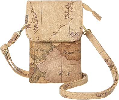 Cell Phone Purse Vintage Style World Map Pattern Crossbody Bag Womens Lightweight Portable Small Wallet Waterproof PU Leather Mini Shoulder Bag Easy Care Phone Wallet For Shopping Date Hiking
