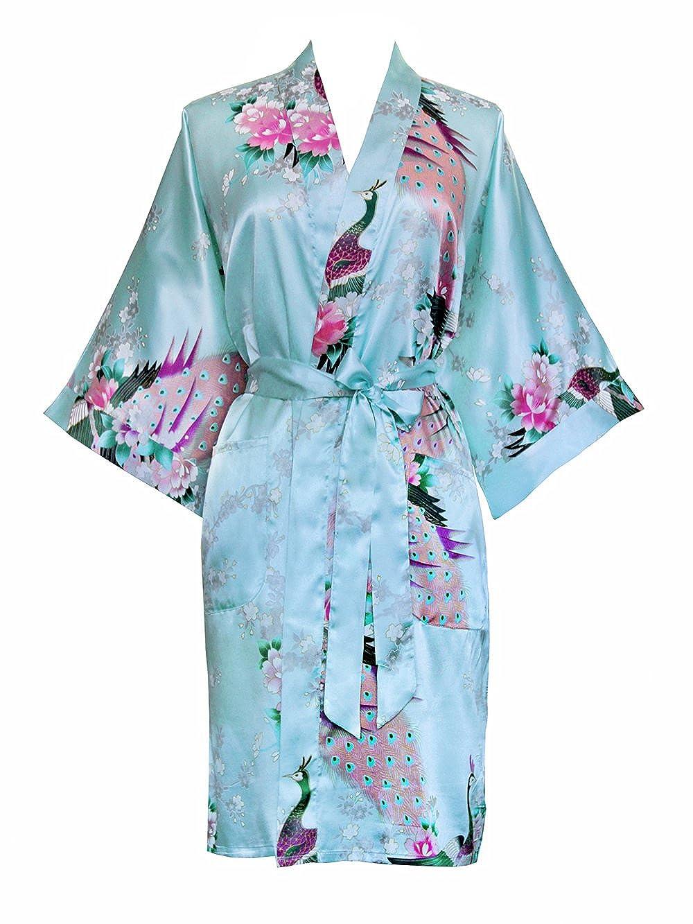 Old Shanghai Women's Kimono Short Robe - Peacock & Blossoms one size KMS01PT-aqua