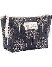 MSYOU sac Cosmétique Multi-fonction Toile Carte Paquet Clé sac Téléphone Portable sac Lavage sac Tissu Fermeture Éclair Pièce Bourse sac de Rangement Cosmétique (Gris souhaitant arbre)