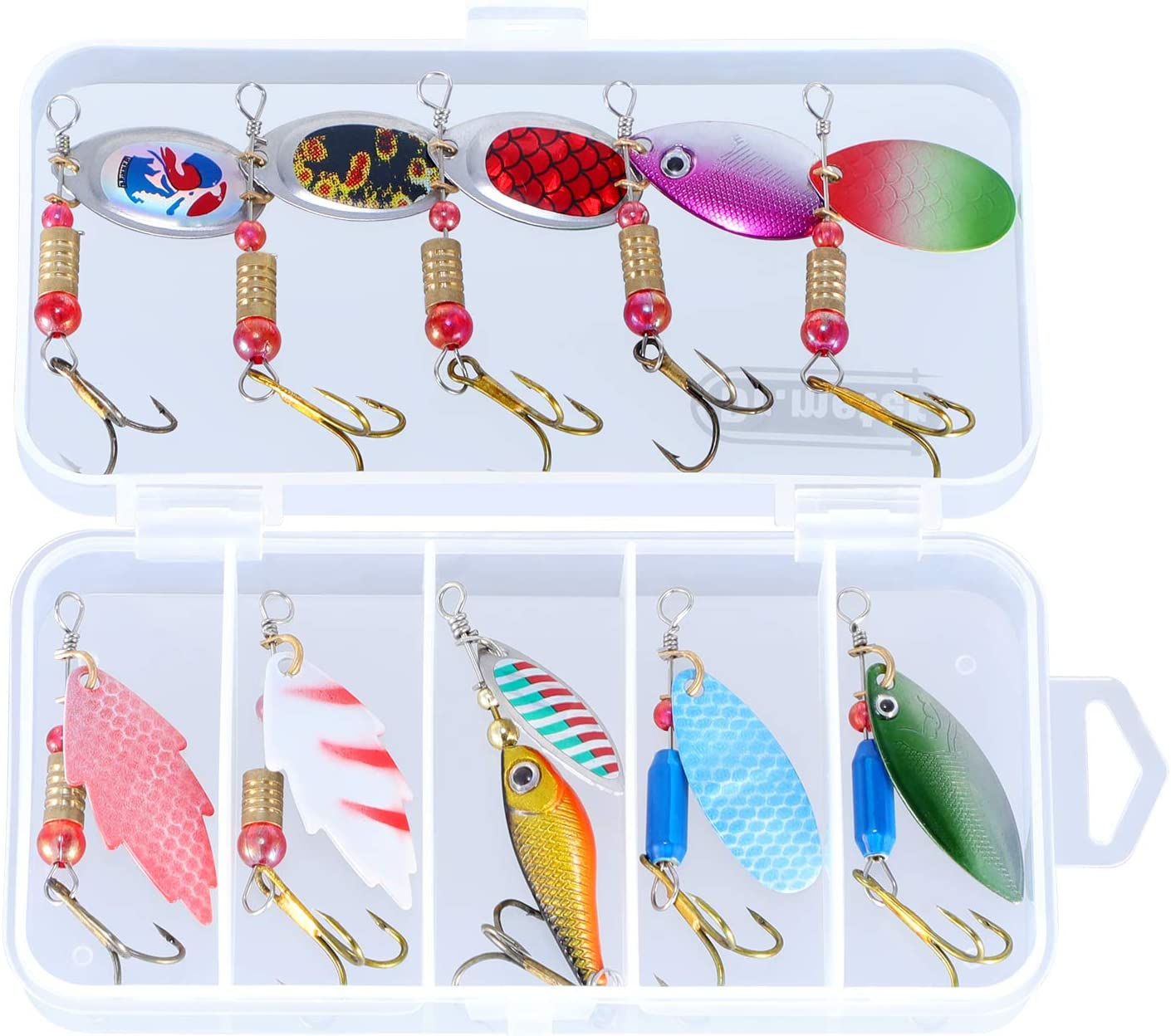 10 Fishing Lure Spinnerbait Bass Trout Salmon Hard Metal Spinner Baits Kit Box