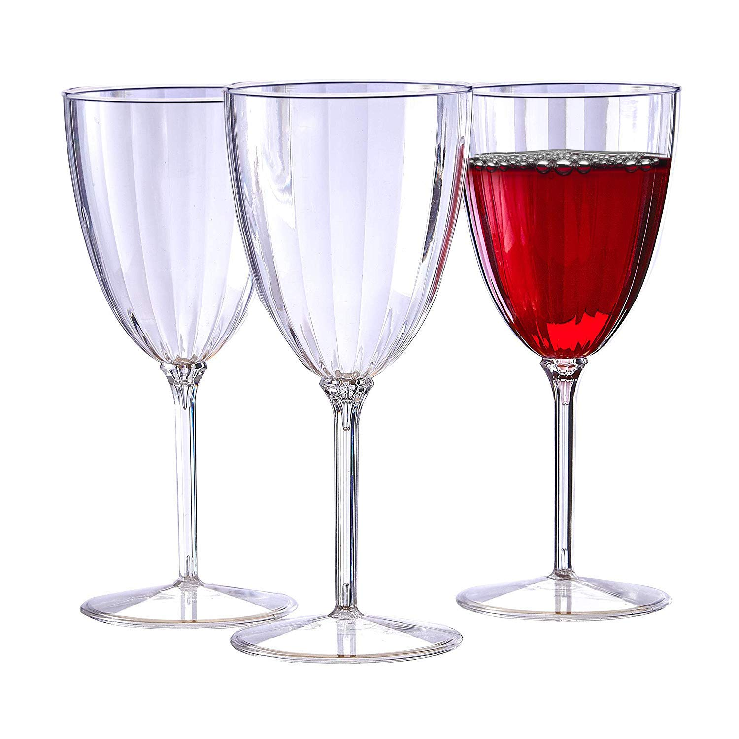 CLASSIC STEMWARE DISPOSABLE PLASTIC WINE GLASSES | Reusable Wine Cups | for Upscale Wedding and Dining | Includes 72 goblets | 8 oz by Silver Spoons