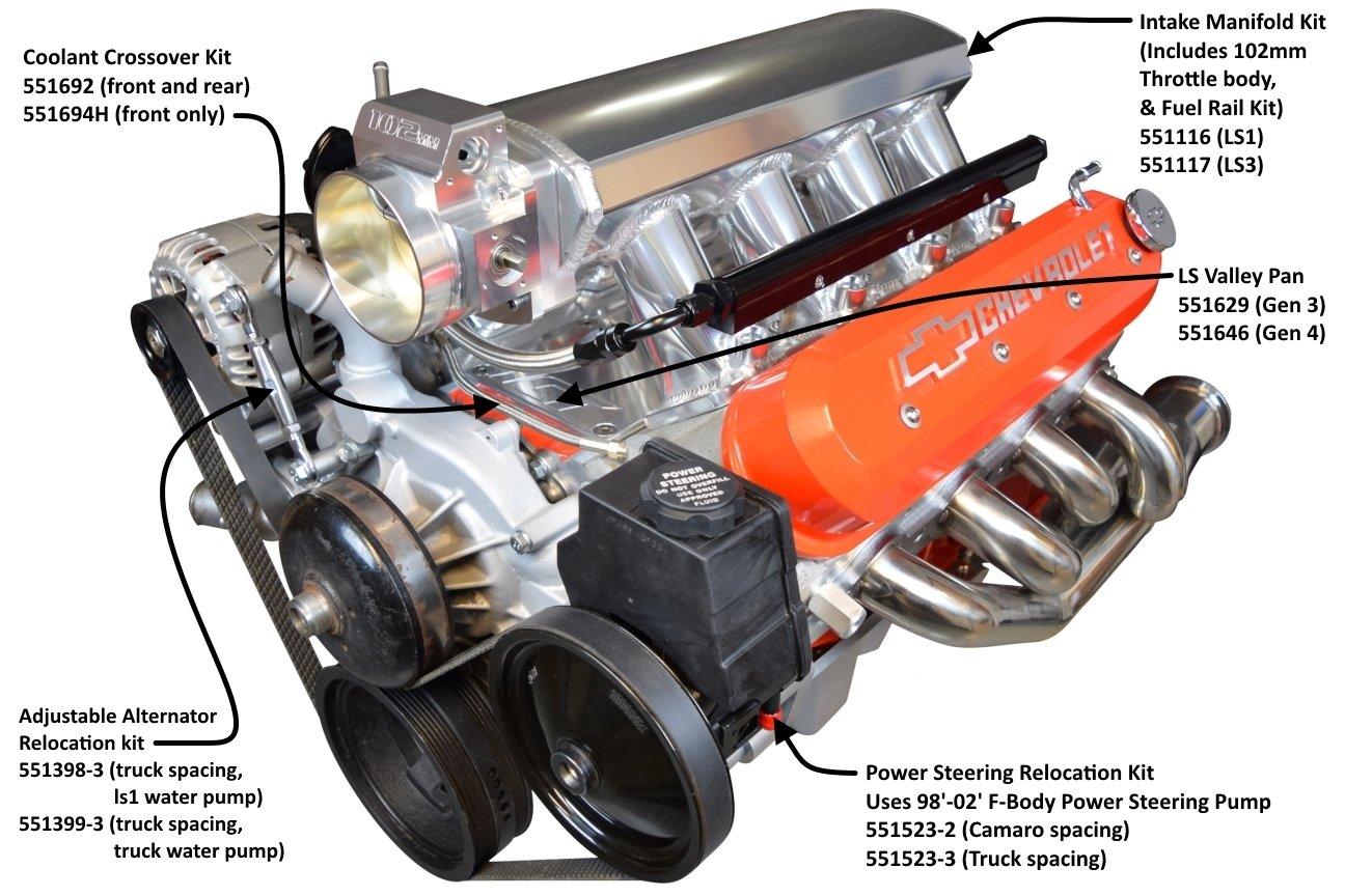 LS1 Catedral puerto Sheet Metal colector de admisión W/Carril de combustible fabricado en TIC Billet, 551101: Amazon.es: Coche y moto