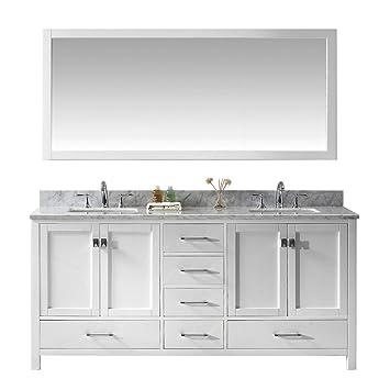 Virtu GD 50072 WMSQ WH Caroline Avenue Double Bathroom Vanity Cabinet Set,