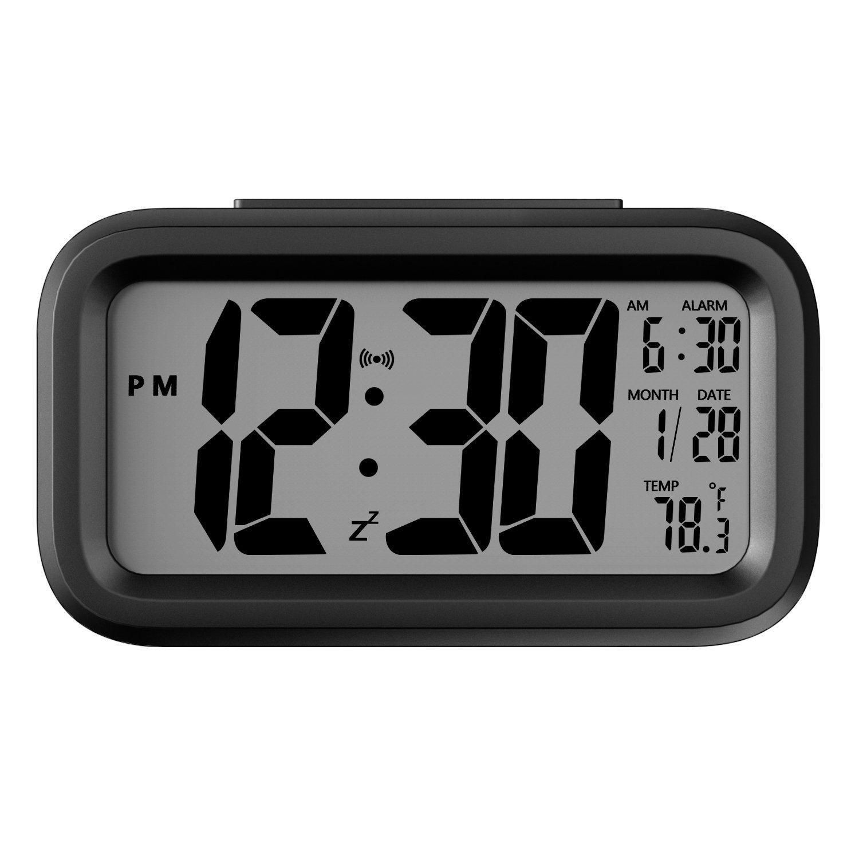 Alarm Clock, Auoinge Digital Travel Alarm Clock Large Display Bold Number Calendar Temperature Snooze Smart Backlight Function, Battery Operated Alarm Clock Home Office Kids Room Desk DMcore