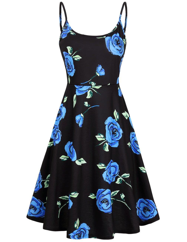 FANVOOK Evening Dress,Spaghetti Women's Dress Gift Idea Soft Comfy Clothes Blue XXL