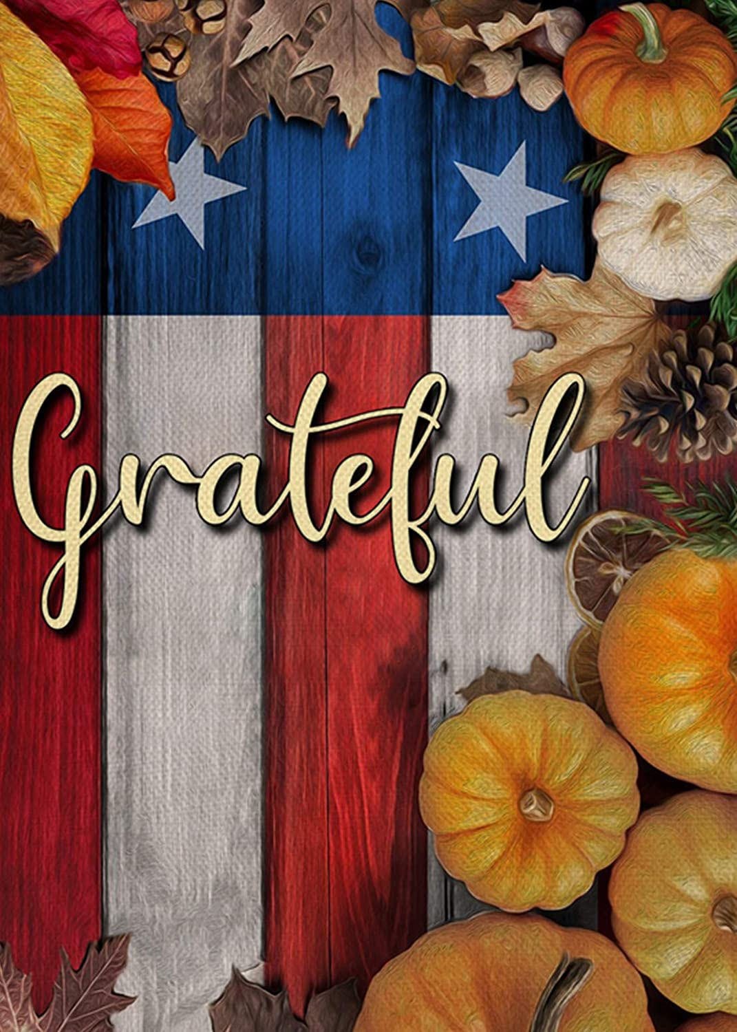Covido Home Decorative Grateful Fall Garden Flag, American House Yard Pumpkins Patriotic Decor Sign, UAS Autumn Outside Decorations Thanksgiving Veterans Day Outdoor Small Flag Double Sided 12x18