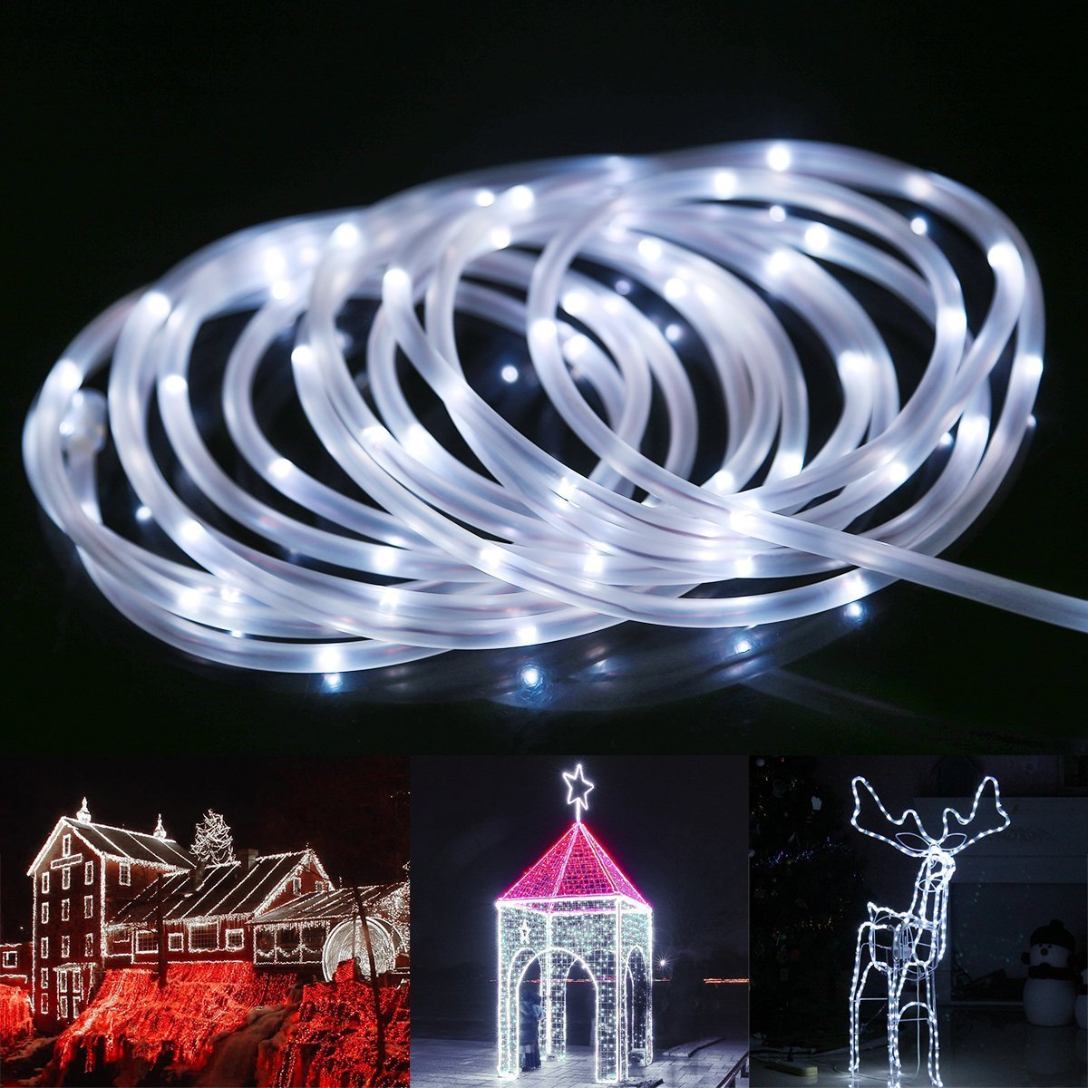 BlueFire Solar Rope Lights, 12M/39ft 100 LEDs Automatically Turn ON/OFF 2 Lighting Modes Decorative Lights for Outdoor/Indoor/Garden/Tree Christmas Wedding(Color) D008C-BF-UK-123