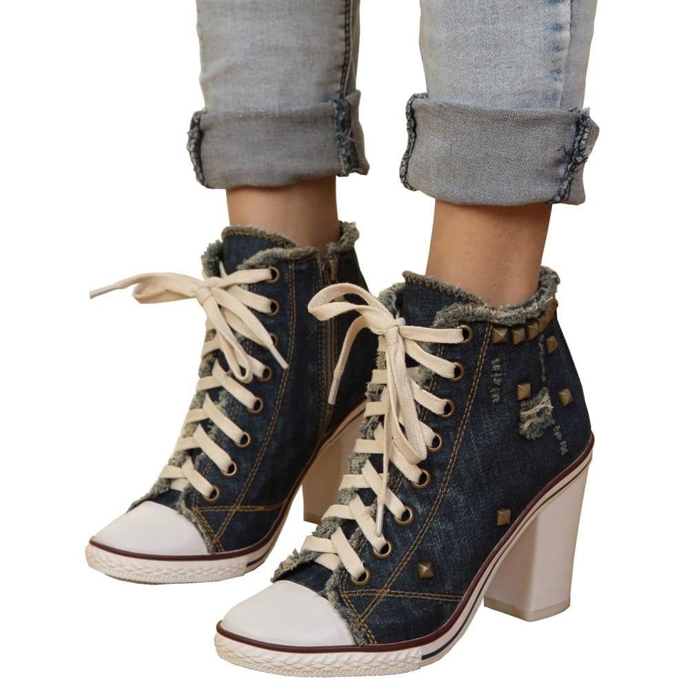 Women's Rivet Lace up High Heel Canvas Sneakers Ankle Bootie Mazarine Jean US 8.5