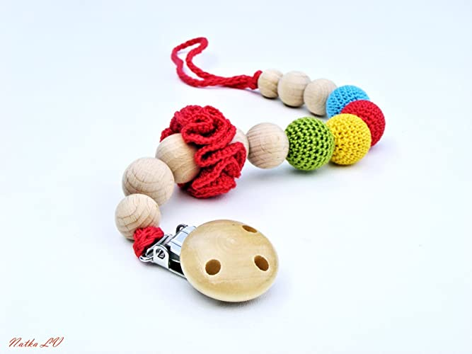 Pacifier Clip Crochet Pacifier Holder Dummy Chain Rainbow Crochet