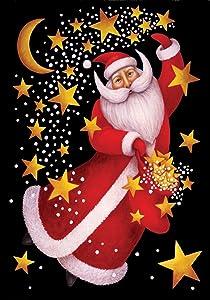 Toland Home Garden Celestial Santa 12.5 x 18 Inch Decorative Christmas Holiday Dancing Gold Star Garden Flag