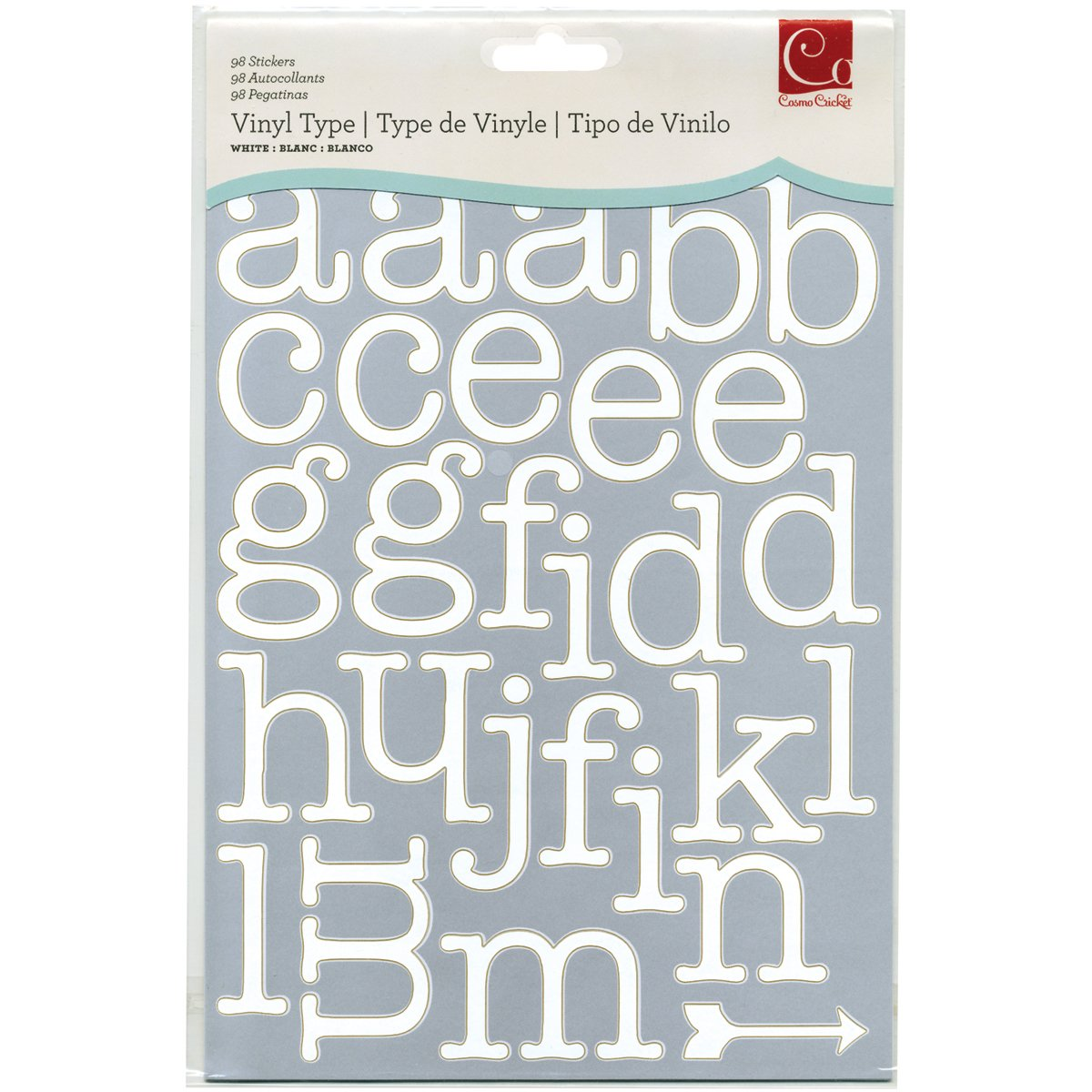 Cosmo Cricket Vinyl Letter Stickers (Pack of 3), White