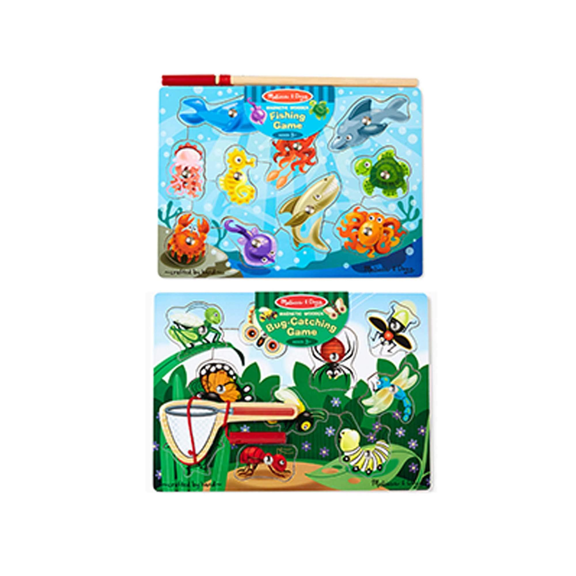 Melissa & Doug Magnetic Wooden Puzzle Game Set, 2-Pack, Fishing and Bug Catching (Sturdy Wooden Construction, 10 Pieces Each, Great Gift for Girls and Boys - Best for 3, 4, and 5 Year Olds) by Melissa & Doug