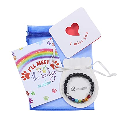 6a4a7a8188a Vesungimey Pet Memorial Gifts Bracelet - Loss of Pet Gifts Rainbow Bridge  Bracelet Animal Memorial Stone