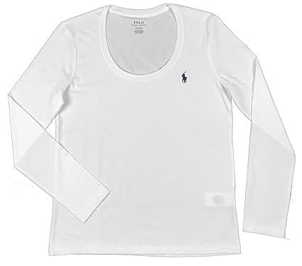 a4cdb19f1c3be2 Ralph Lauren Polo Damen Rundhals Langarmshirt Longsleeve Shirt Weiß Größe L