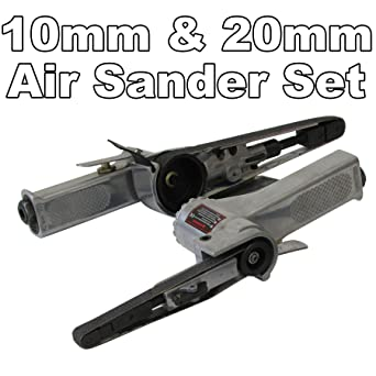 Air Belt Sander Set AT-485 20mm Speed Easily Controlled With Throttle Lightweight Rotating Sanding Head AT-480 10mm Smallest Handy Belt Both Useful To Reach Hard To Reach Areas