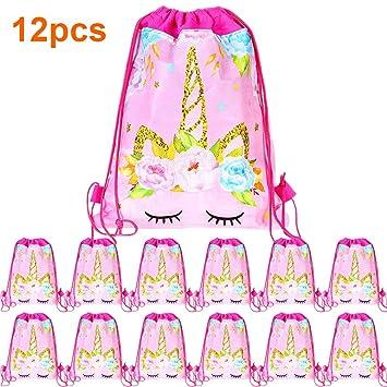 Amazon.com: Paquete de 12 bolsas con cordón de unicornio ...