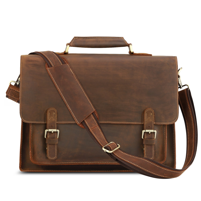 Kattee Real Leather Shoulder Briefcase, 16'' Laptop Tote Bag Brown