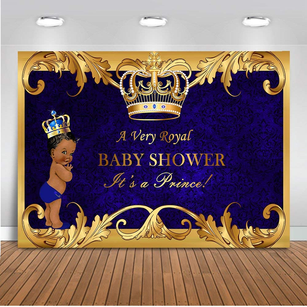 Mehofoto Royal Prince Baby Shower Backdrop Black Boy Gold Crown Photography Background 7x5ft Vinyl Little Prince Royal Blue Backdrops for Baby Shower Party by Mehofoto