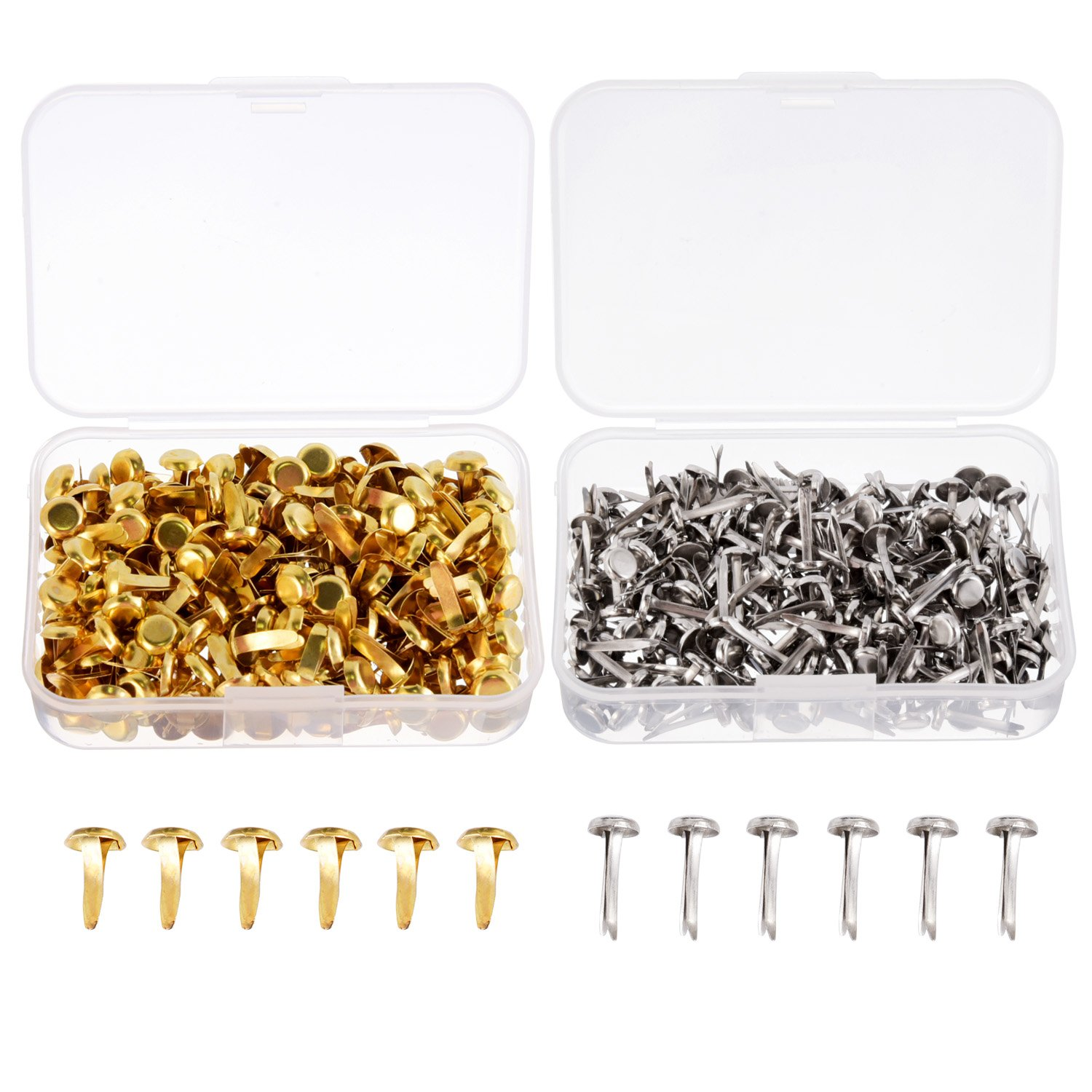 Shappy 500 Pieces Paper Fasteners Brass Plated Scrapbooking Brads Round Metal Brads with Storage Box for Crafts Making DIY, Gold and Silver 4336848270