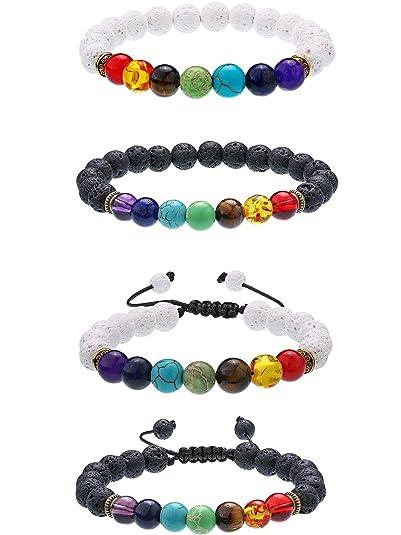 57d3f8343113 4 Piezas de Pulseras de Piedras de Lava Brazaletes con Abalorios de Chakra  de 7 Colores