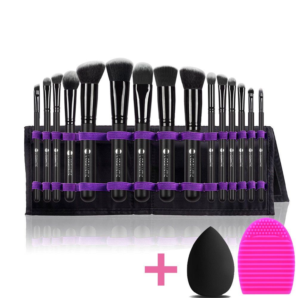 L COSMETIC Makeup Brushes Professional 15 Pcs Makeup Brush Set Synthetic Cosmetic Brushes Eyeshadow Powder Brushes Cleaning and Beauty Sponge With Case For Gifts