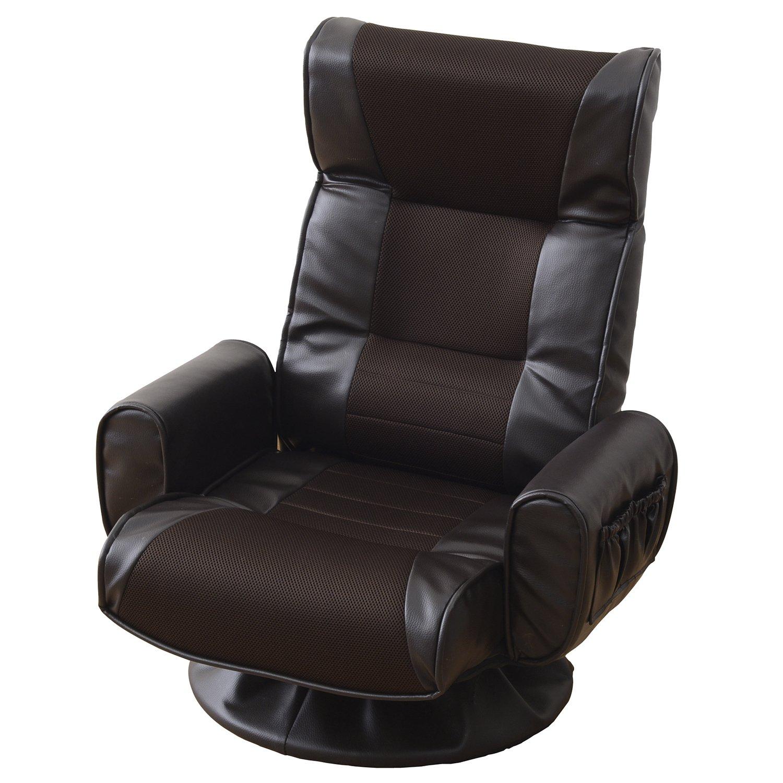 山善(YAMAZEN) 肘掛け付 リクライニング 回転座椅子 組み立て不要 ダークブラウン WHS-70H(DBR) B00LKUES4I