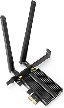 WIFI 6 PCI Express con Bluetooth 5.1,Tarjeta de Red Gigabit Ethernet 802.11ax,WIFI Adaptador AX2974Mbps con 2x6DB Antenas,WiFi-6 Wireless Dual Band ...