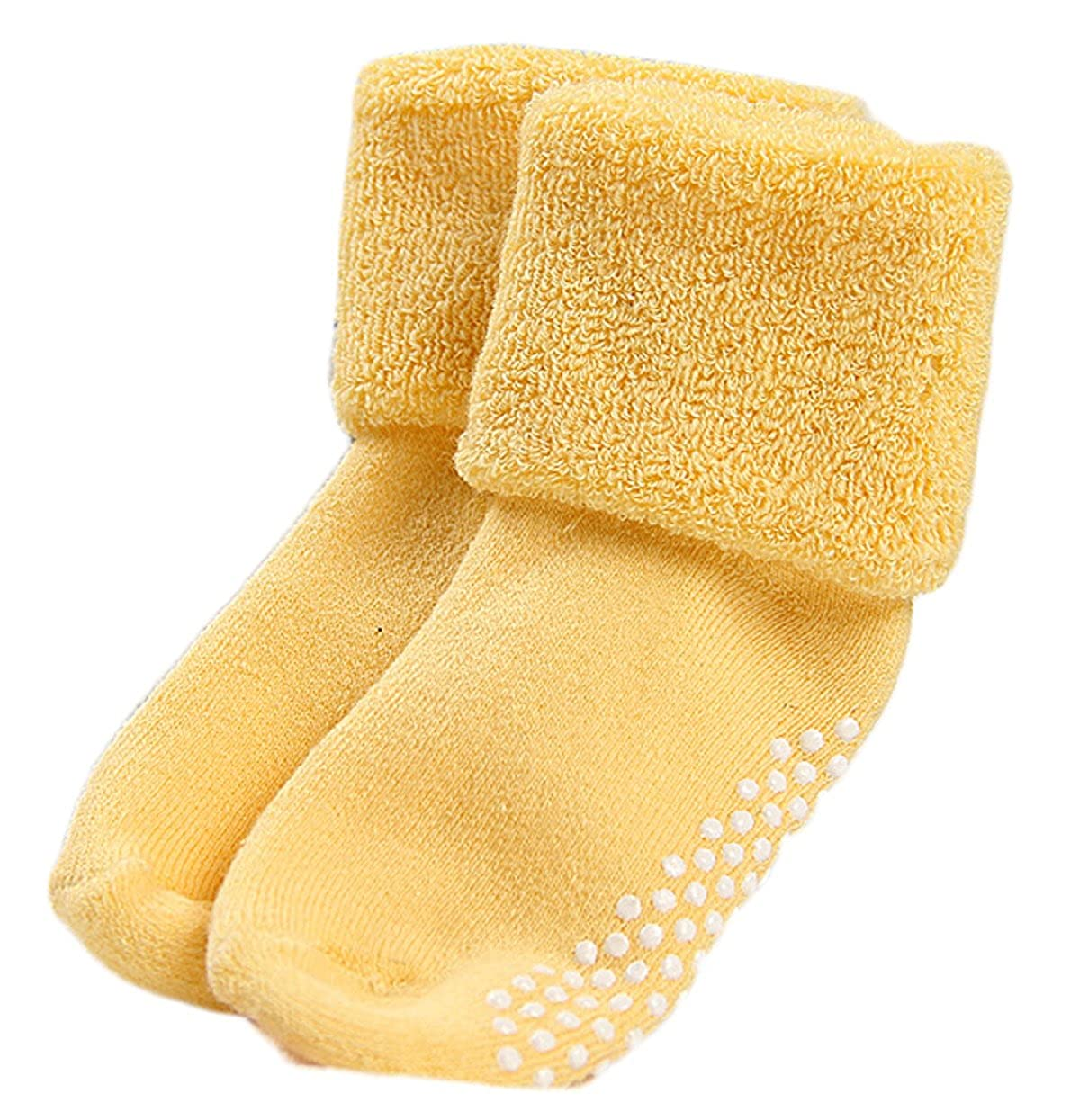 AATMart Unisex Children 6 Pairs Thick Non-Slip Non-Skid Pure Cotton Socks Multi Color