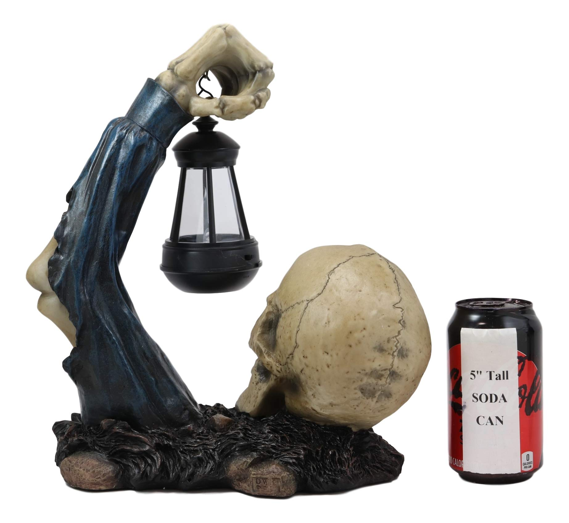 Ebros Gift Death Hallows Skeleton Rising from The Grave Holding Solar Powered Lantern LED Light Patio Decor Figurine Statue Halloween Ossuary Macabre Patio Path Lighter Courtesy Lamp Sculpture by Ebros Gift