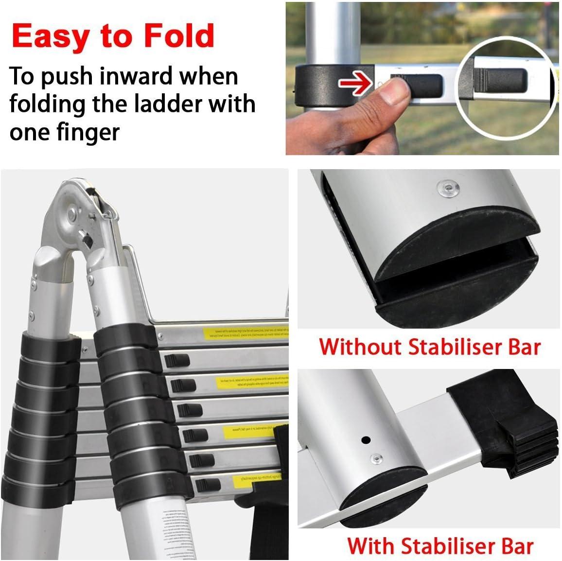 tragbar vielseitig zusammenklappbar Doppel-Leiter Mehrzweck-Leiter f/ür alle Bed/ürfnisse ausziehbar 3.8/m
