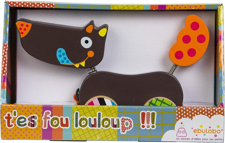 Collection Tes Fou Louloup Livr/é en Boite Ouverte EBULOBO 21 cm Long Rouleur Bois Louloup