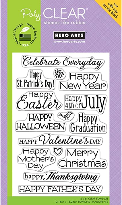 Hero Arts PolyClear Stamps Celebrate Everyday