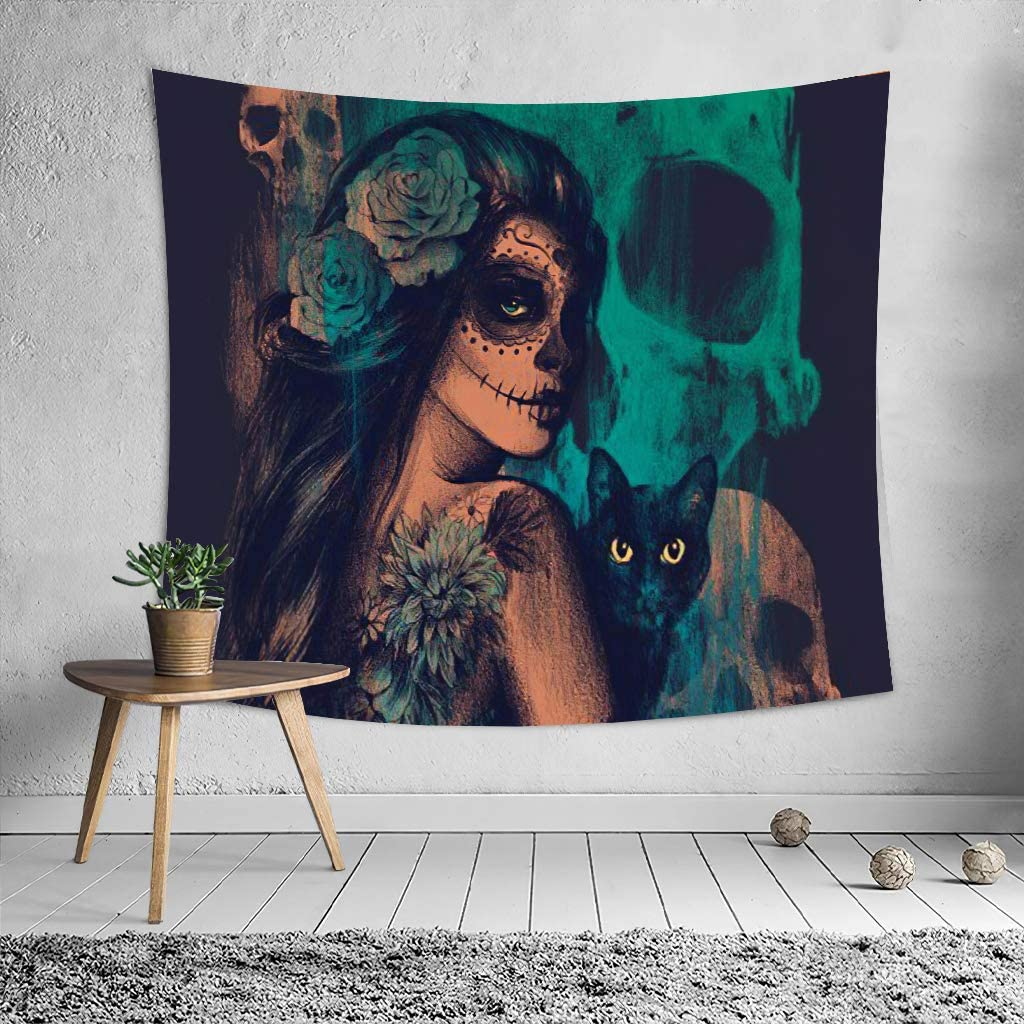 Witch and Black Cat Tapestry,Woman Tapestry WallHanging ,Witchcraft Home Decor Wall Hanging for Living Room Bedroom Dorm, Black Wall Hanging Tapestry for Room Decor (witches39.3
