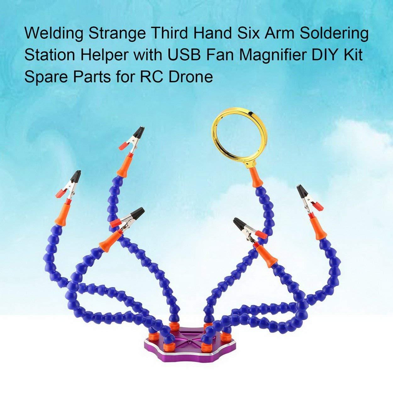 Losenlli Estación de Soldadura Extraña de Tercera Mano de Soldador Extraño Auxiliar con Ventilador USB Lupa DIY Kit Repuestos para Drone RC: Amazon.es: ...